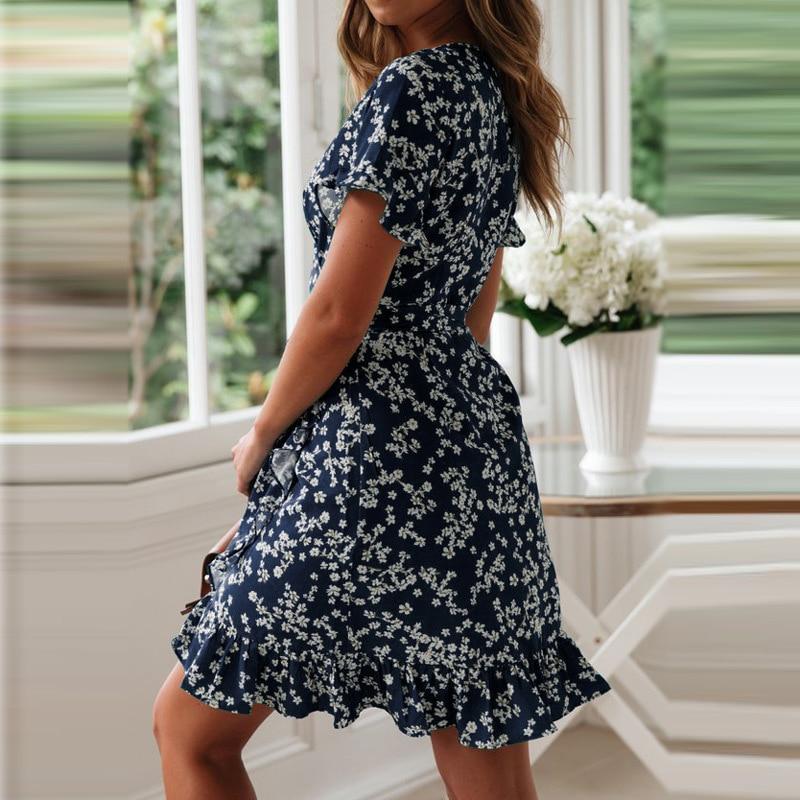Ruffled Floral Printed Dress